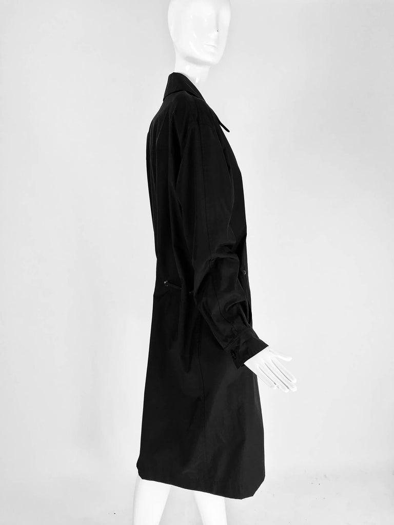 Women's Chanel black zip front draw cord waist rain coat 1998P For Sale