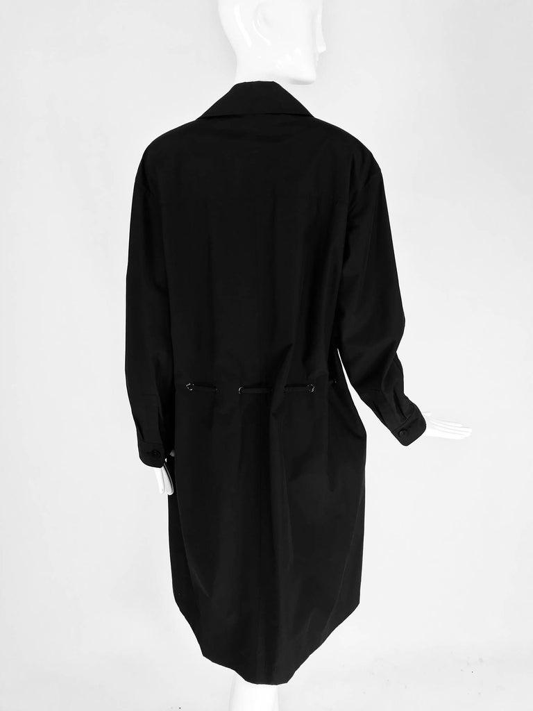 Chanel black zip front draw cord waist rain coat 1998P For Sale 2