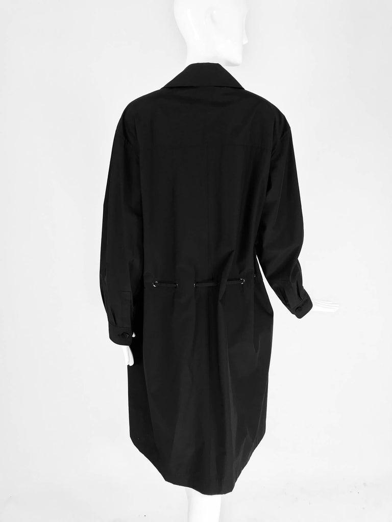 Chanel black zip front draw cord waist rain coat 1998P For Sale 3