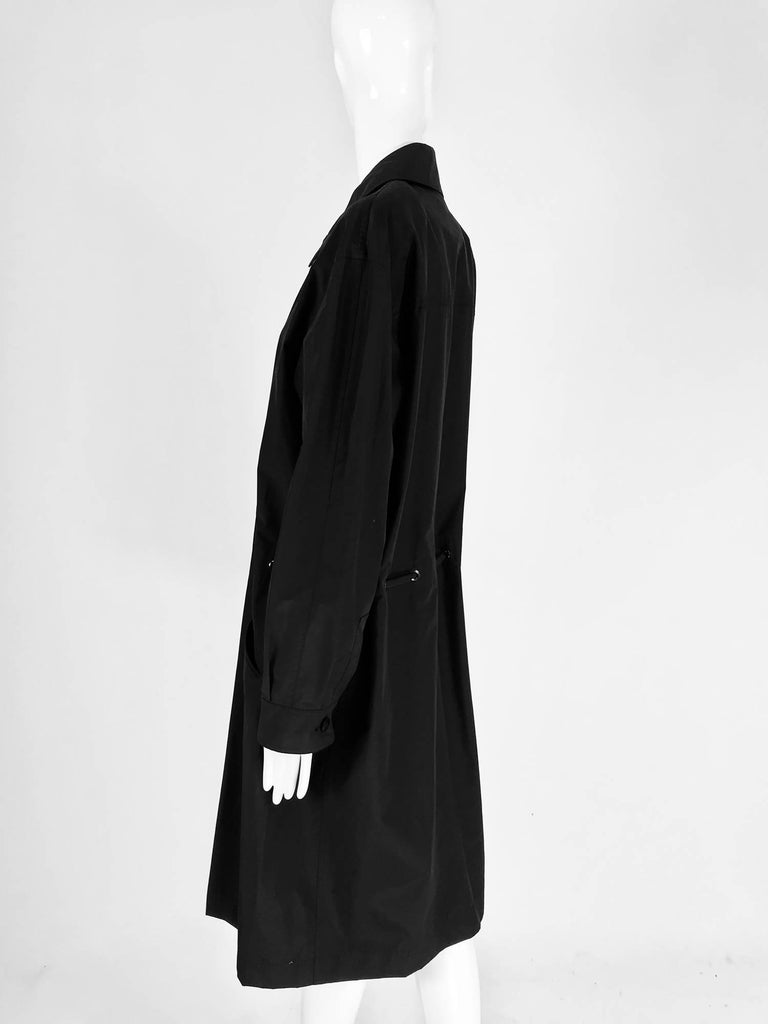 Chanel black zip front draw cord waist rain coat 1998P For Sale 4