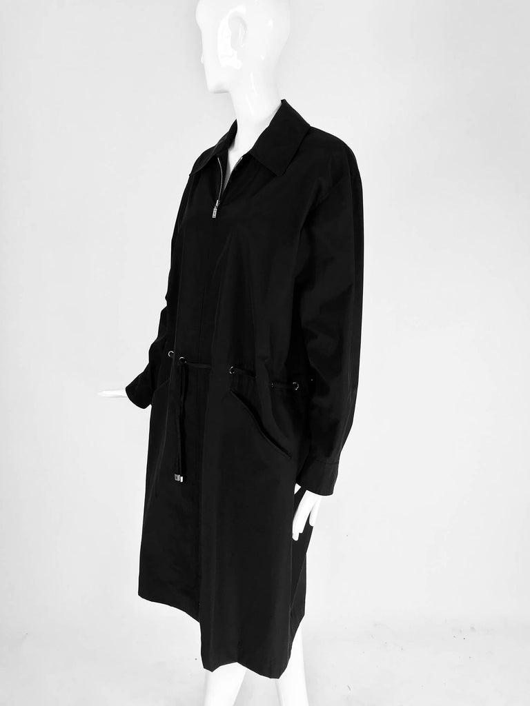 Chanel black zip front draw cord waist rain coat 1998P For Sale 6