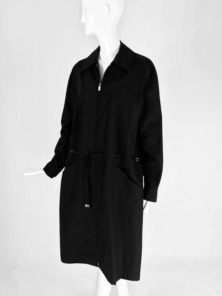 Chanel black zip front draw cord waist rain coat 1998P For Sale 7