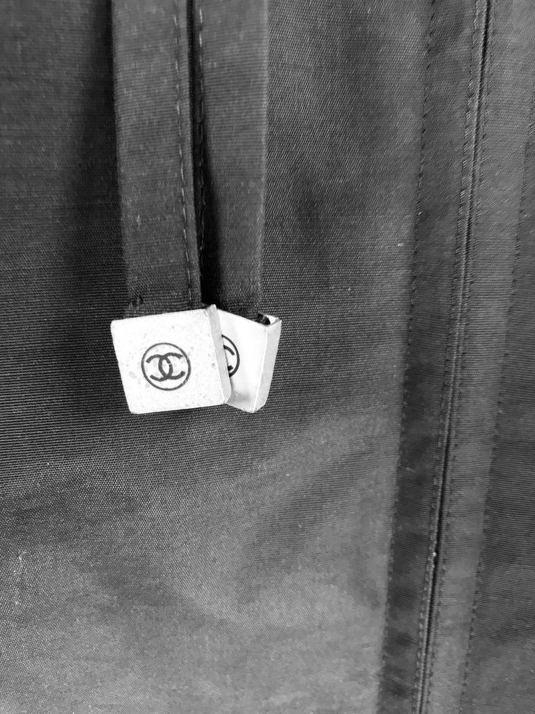 Chanel black zip front draw cord waist rain coat 1998P For Sale 9