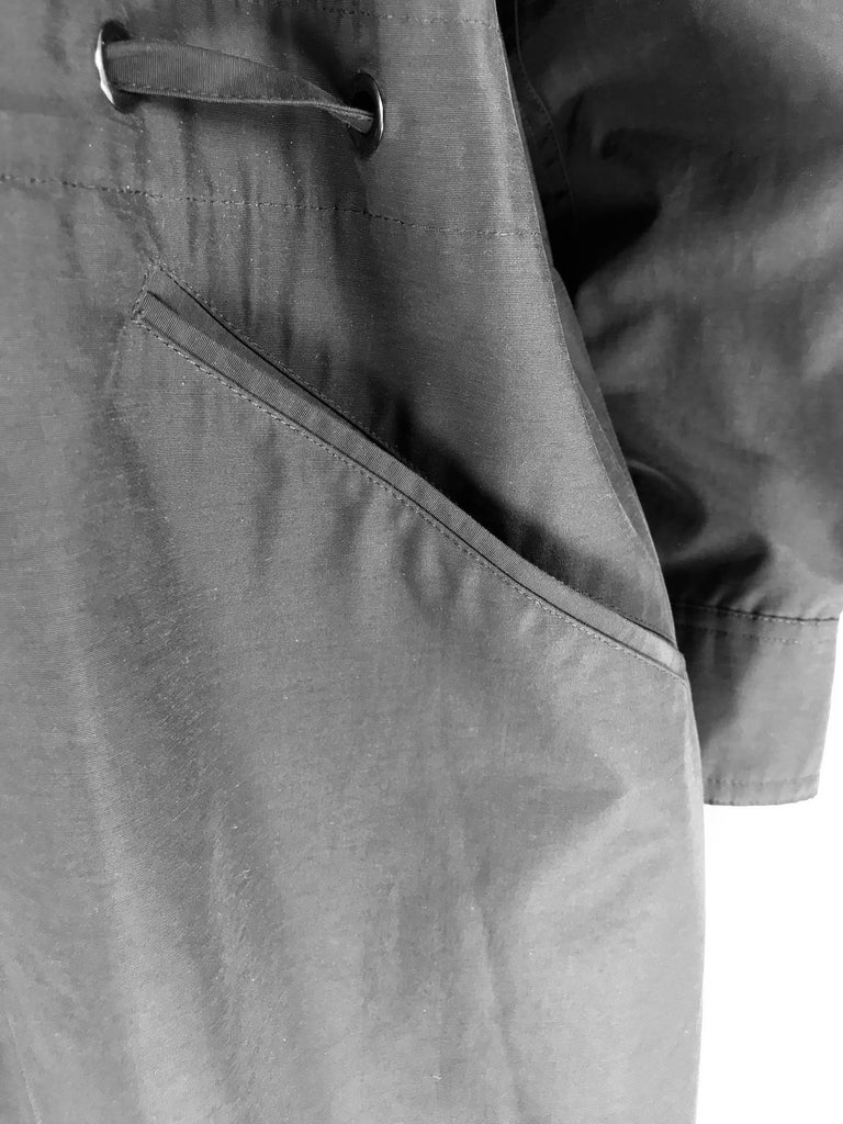 Chanel black zip front draw cord waist rain coat 1998P For Sale 10