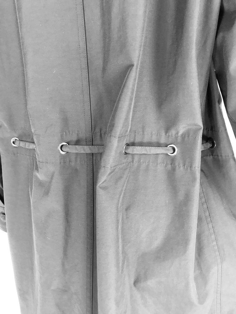 Chanel black zip front draw cord waist rain coat 1998P For Sale 11