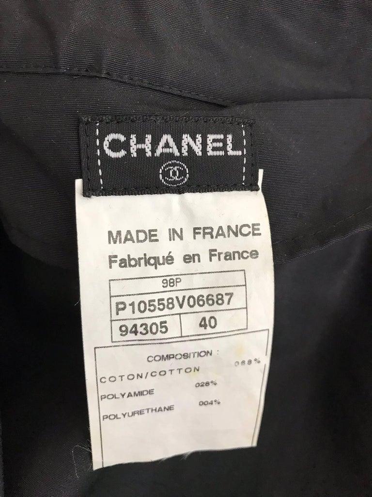 Chanel black zip front draw cord waist rain coat 1998P For Sale 13