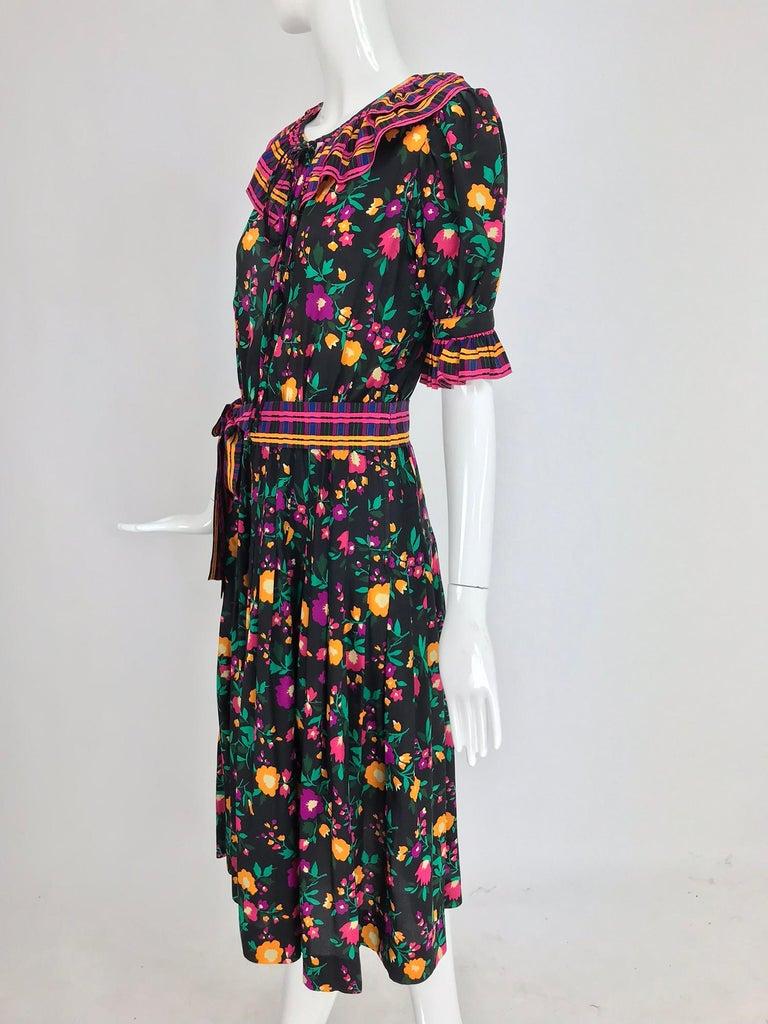 Black Yves Saint Laurent Rive Gauche floral silk mix print dress 1970s For Sale