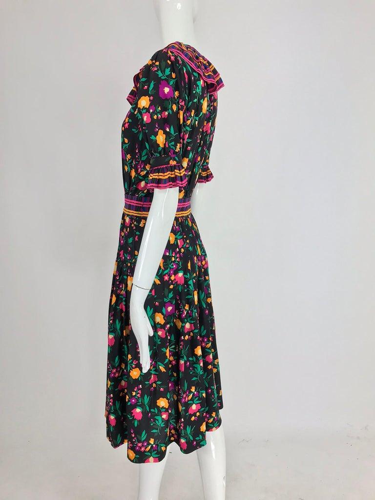 Women's Yves Saint Laurent Rive Gauche floral silk mix print dress 1970s For Sale