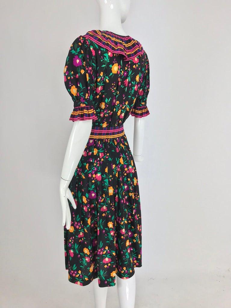 Yves Saint Laurent Rive Gauche floral silk mix print dress 1970s For Sale 1