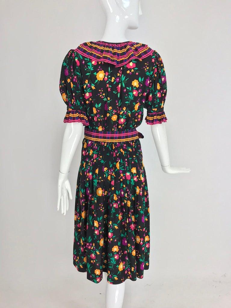 Yves Saint Laurent Rive Gauche floral silk mix print dress 1970s For Sale 2