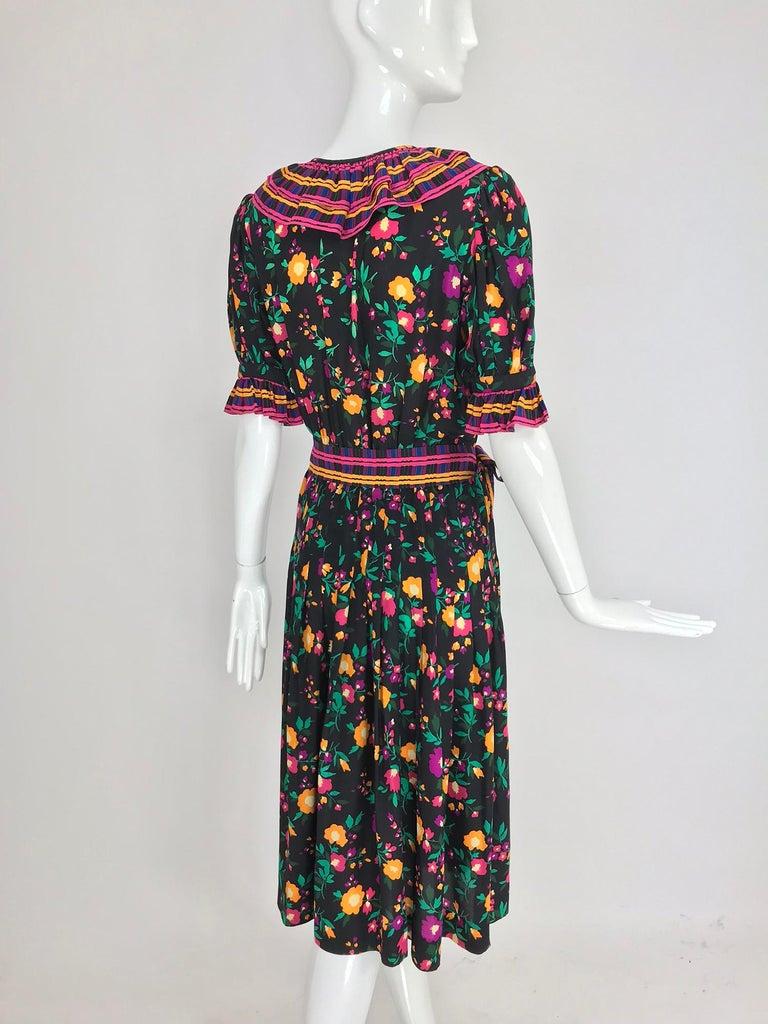 Yves Saint Laurent Rive Gauche floral silk mix print dress 1970s For Sale 3