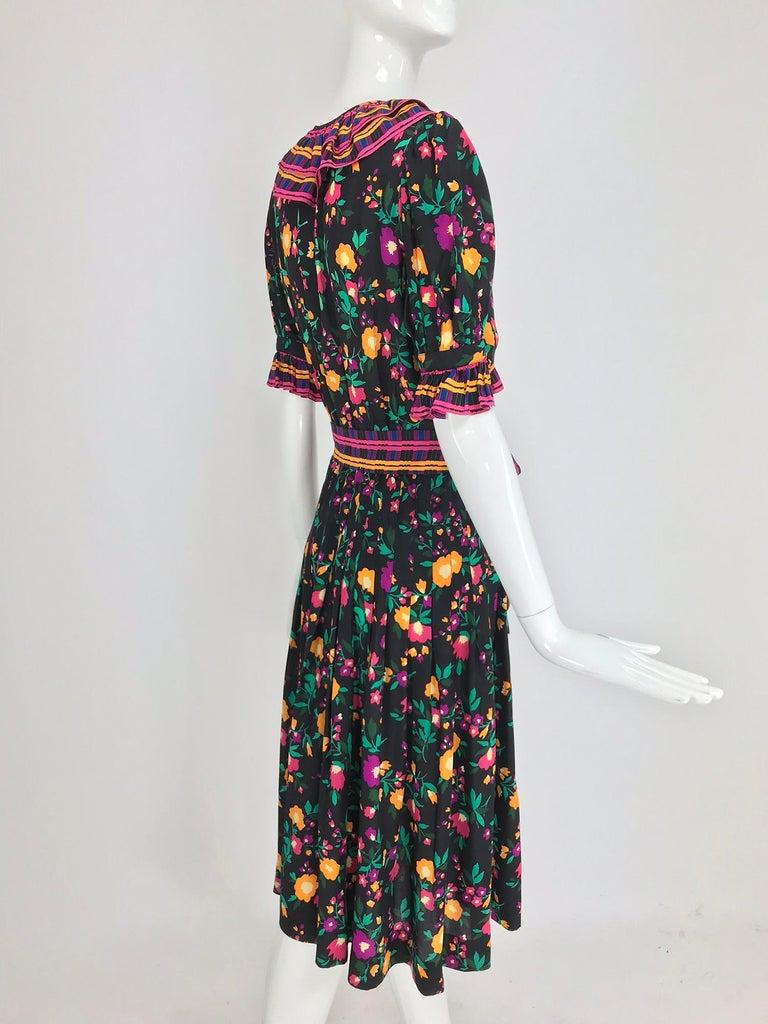 Yves Saint Laurent Rive Gauche floral silk mix print dress 1970s For Sale 4