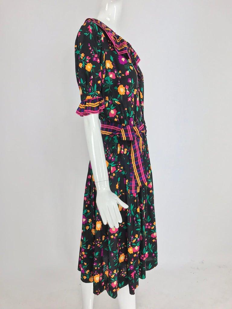 Yves Saint Laurent Rive Gauche floral silk mix print dress 1970s For Sale 5