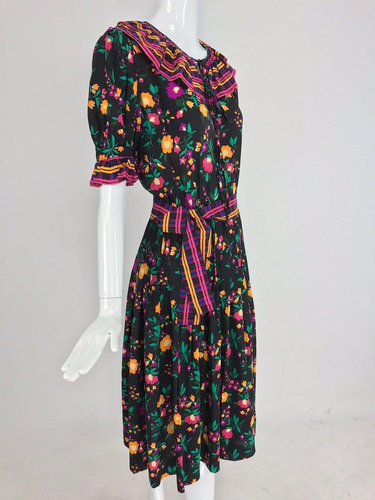Yves Saint Laurent Rive Gauche floral silk mix print dress 1970s For Sale 6