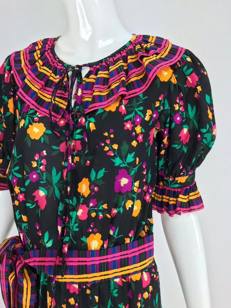 Yves Saint Laurent Rive Gauche floral silk mix print dress 1970s For Sale 7