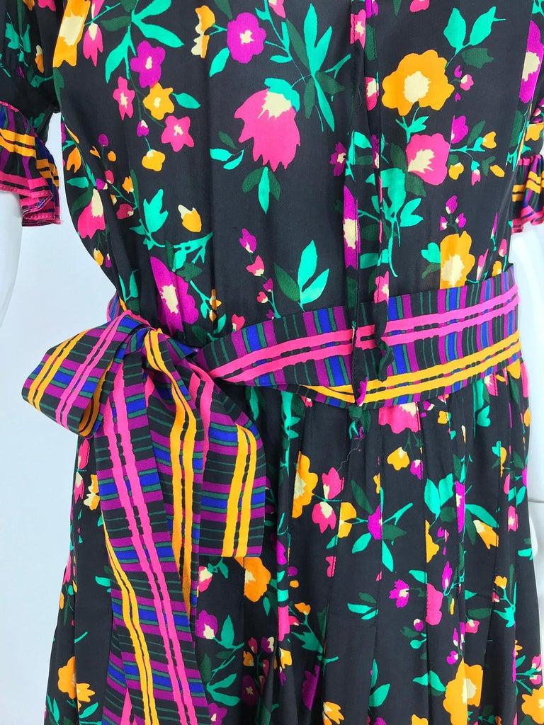 Yves Saint Laurent Rive Gauche floral silk mix print dress 1970s For Sale 8
