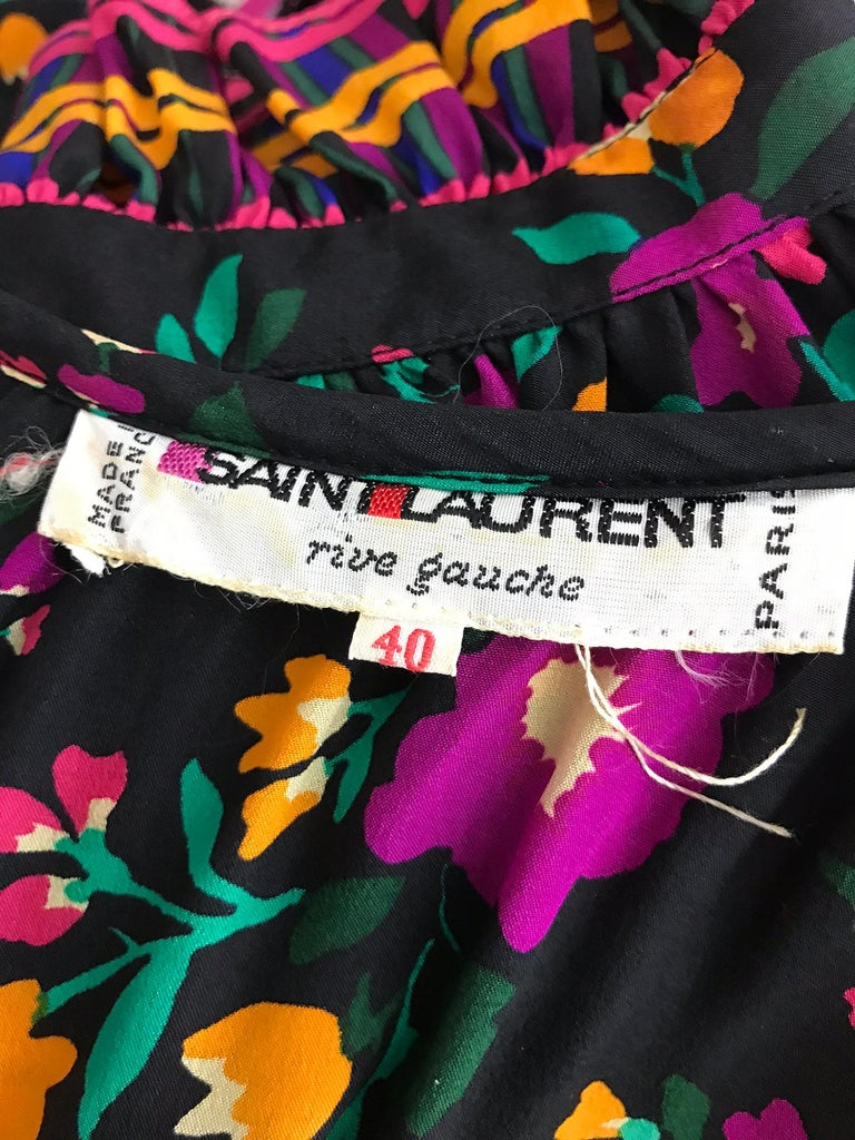 Yves Saint Laurent Rive Gauche floral silk mix print dress 1970s For Sale 9