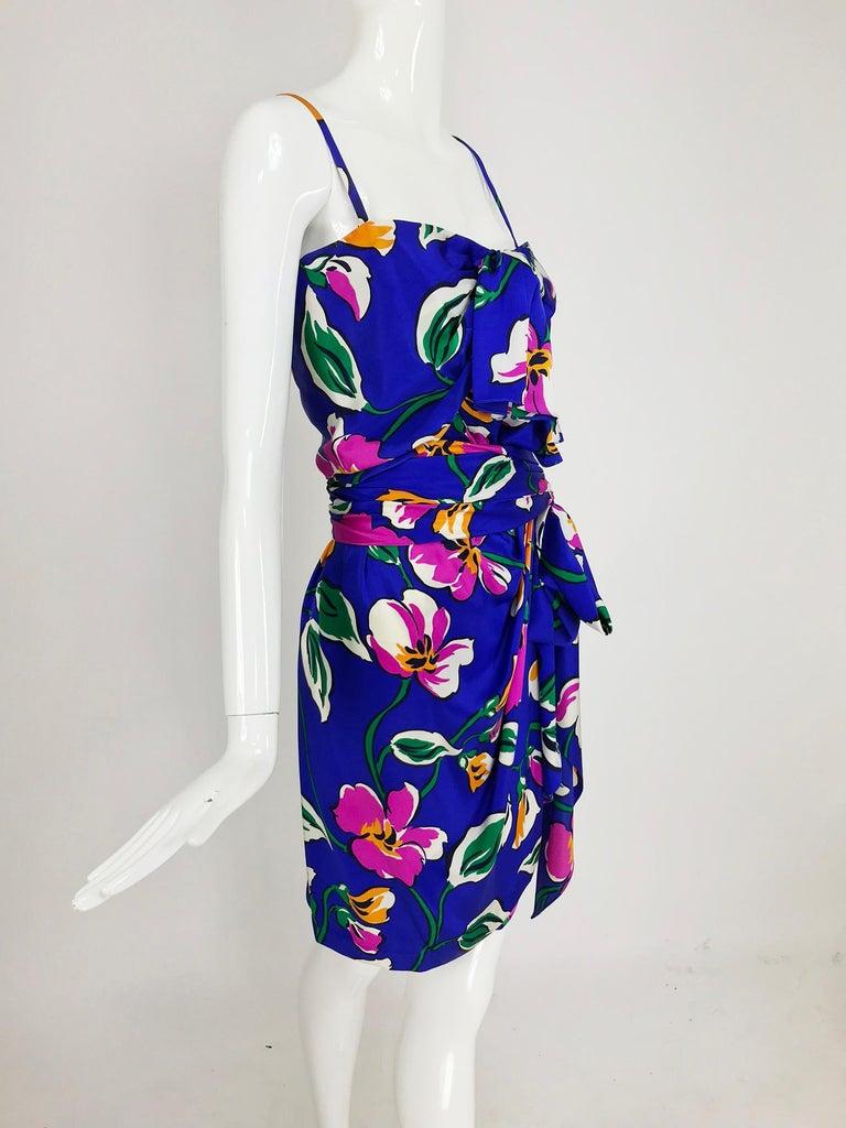 Purple Givenchy tropical silk satin sarong dress 1980s For Sale