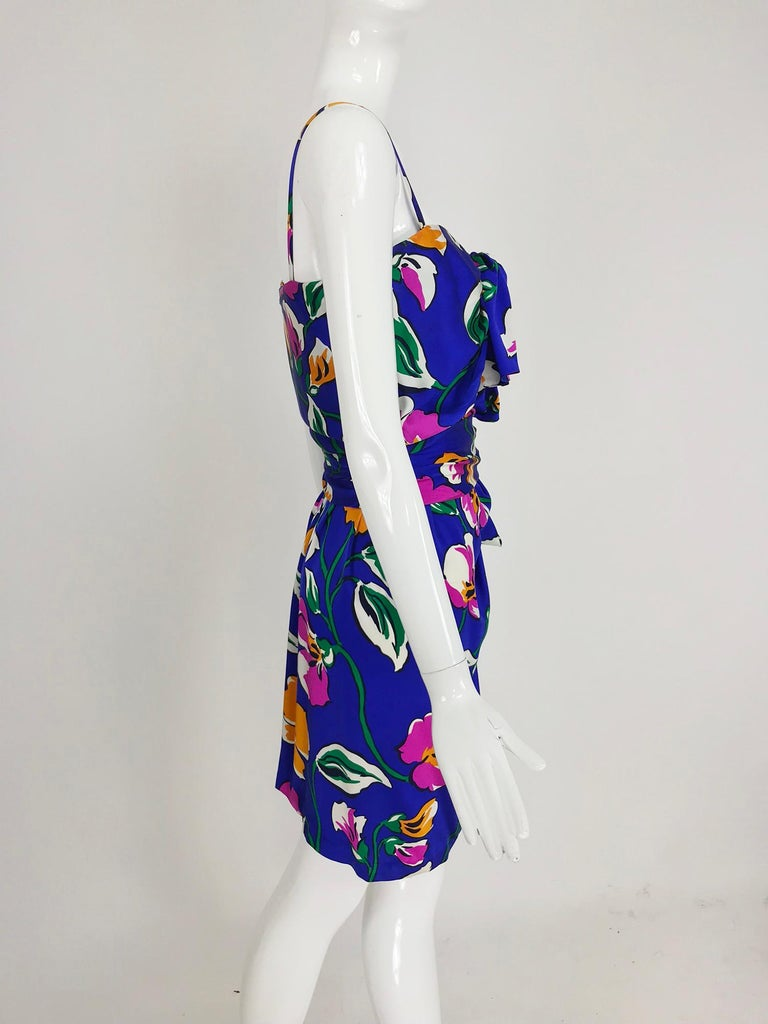 Women's Givenchy tropical silk satin sarong dress 1980s For Sale