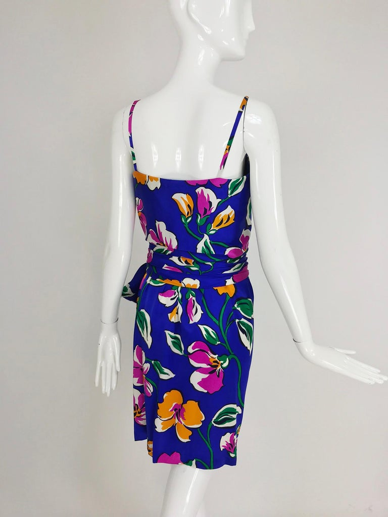 Givenchy tropical silk satin sarong dress 1980s For Sale 2
