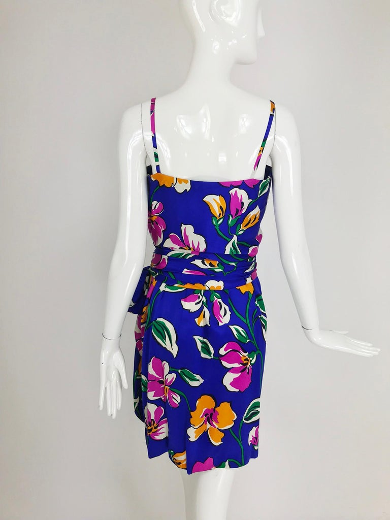 Givenchy tropical silk satin sarong dress 1980s For Sale 3