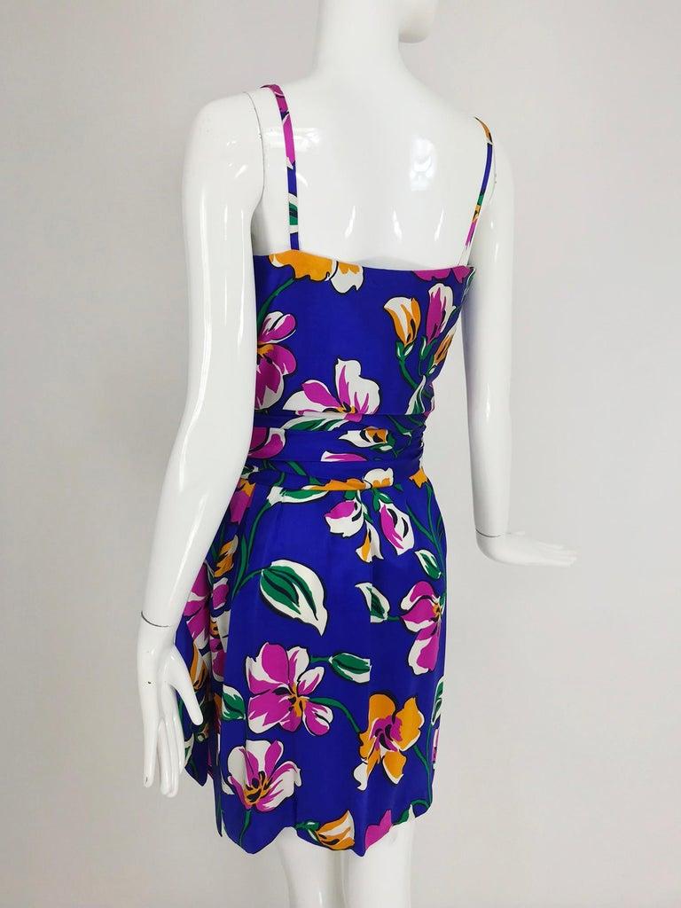 Givenchy tropical silk satin sarong dress 1980s For Sale 4