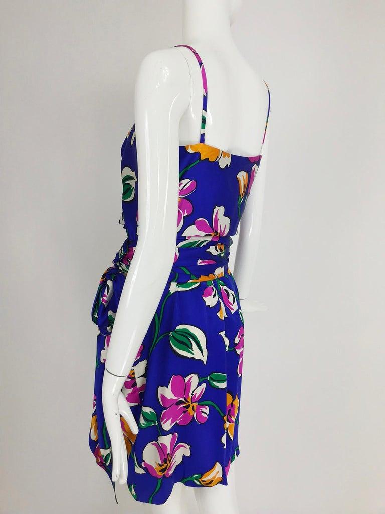 Givenchy tropical silk satin sarong dress 1980s For Sale 5
