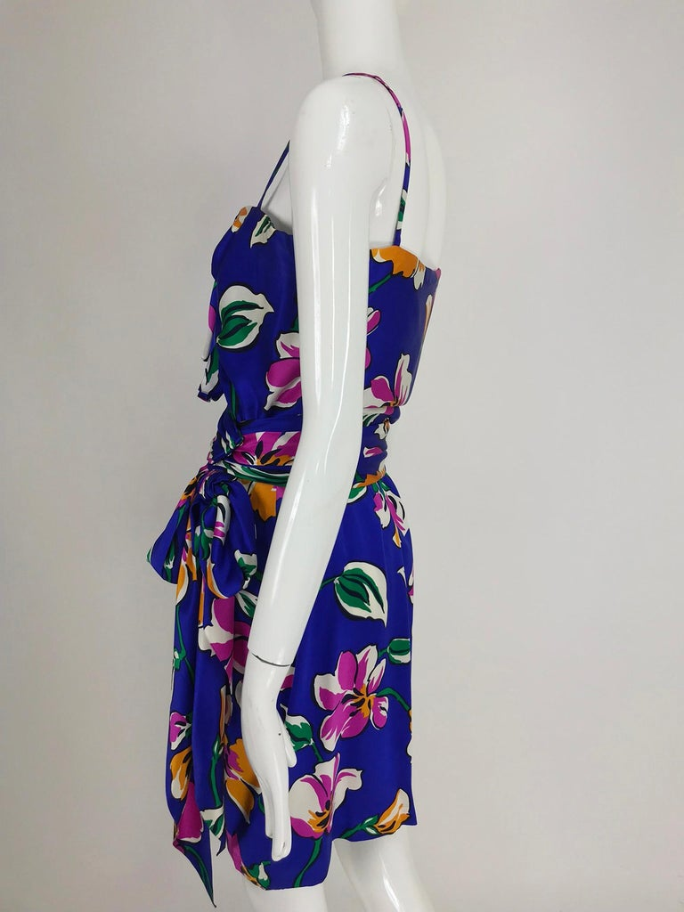 Givenchy tropical silk satin sarong dress 1980s For Sale 6