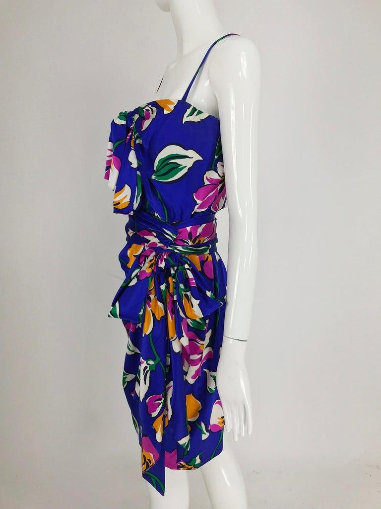 Givenchy tropical silk satin sarong dress 1980s For Sale 7