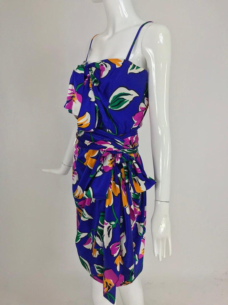 Givenchy tropical silk satin sarong dress 1980s For Sale 8