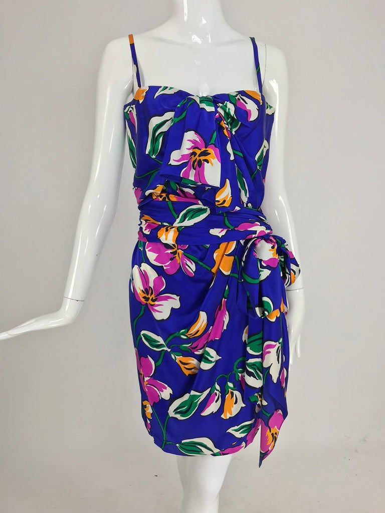 Givenchy tropical silk satin sarong dress 1980s For Sale 9