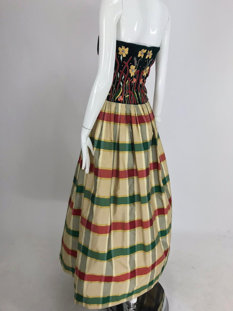 Women's Victoria Royal embroidered velvet and silk taffeta strapless gown 1990s For Sale