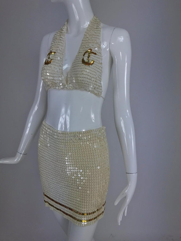 Martha Worth Avenue, Palm Beach cruise wear cream and gold sequin bra and skirt 1980s. Glamorous look from the 1980s that still works in resort areas around the world. Hand crocheted of off white rayon thread, each sequin is attached by hand. the