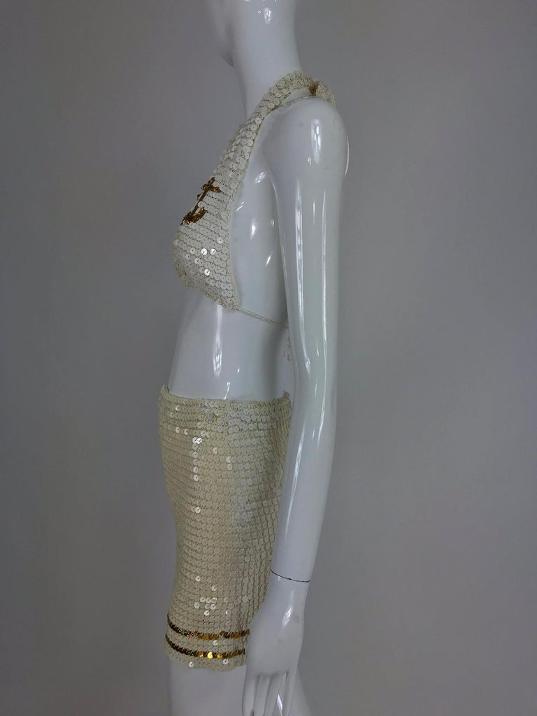 Martha cruise wear cream sequin bra and skirt, 1980s In Excellent Condition For Sale In West Palm Beach, FL