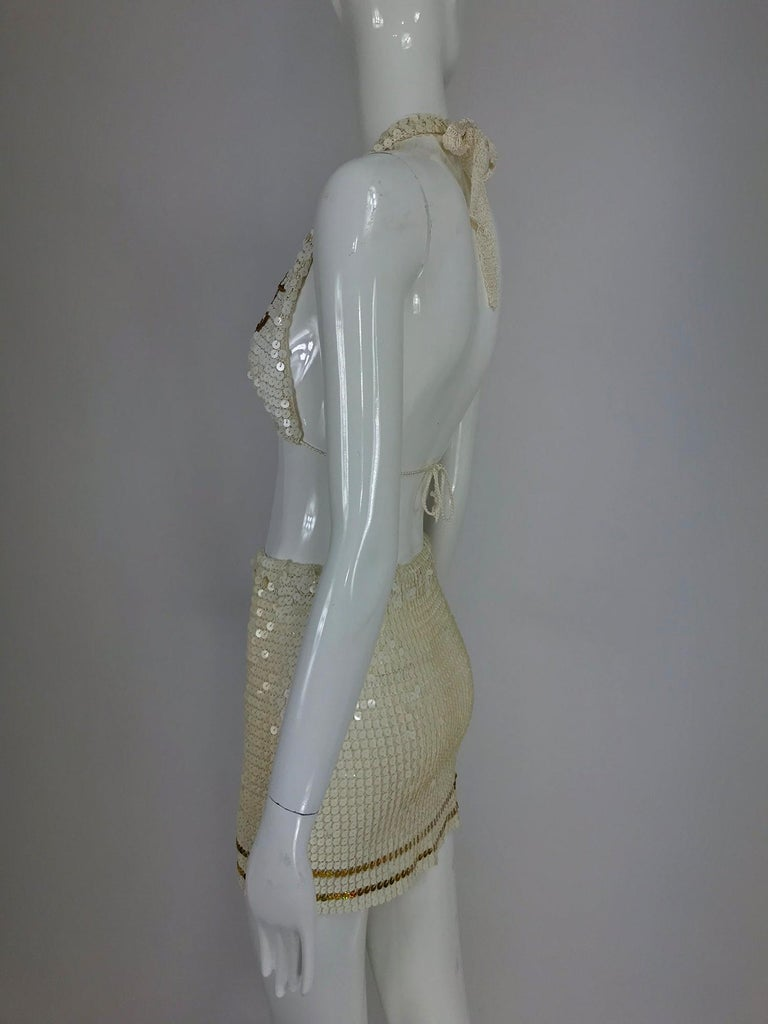 Women's Martha cruise wear cream sequin bra and skirt, 1980s For Sale