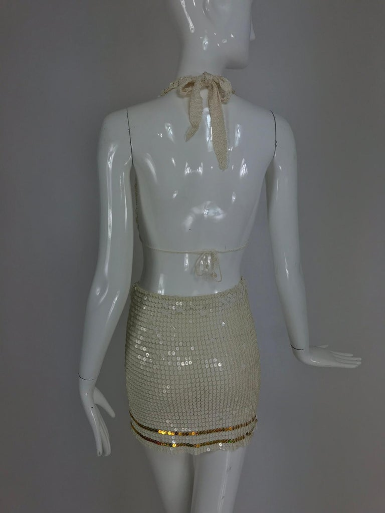 Martha cruise wear cream sequin bra and skirt, 1980s For Sale 2