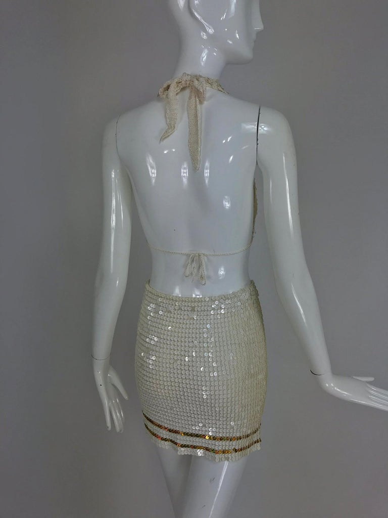 Martha cruise wear cream sequin bra and skirt, 1980s For Sale 3