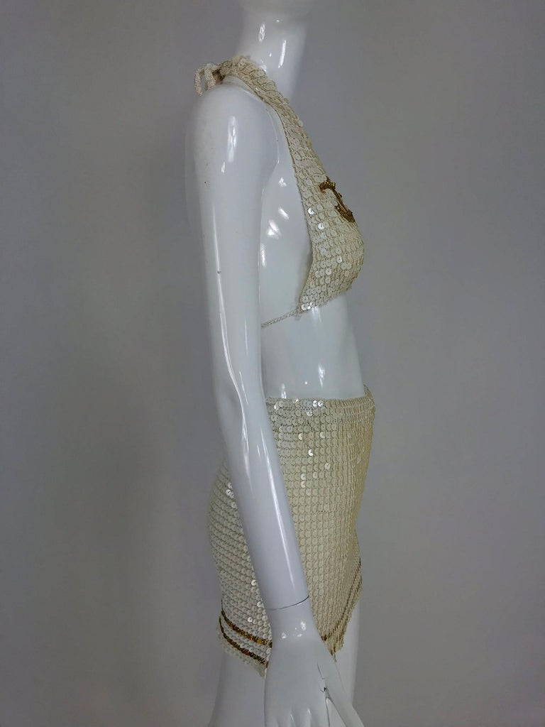 Martha cruise wear cream sequin bra and skirt, 1980s For Sale 5