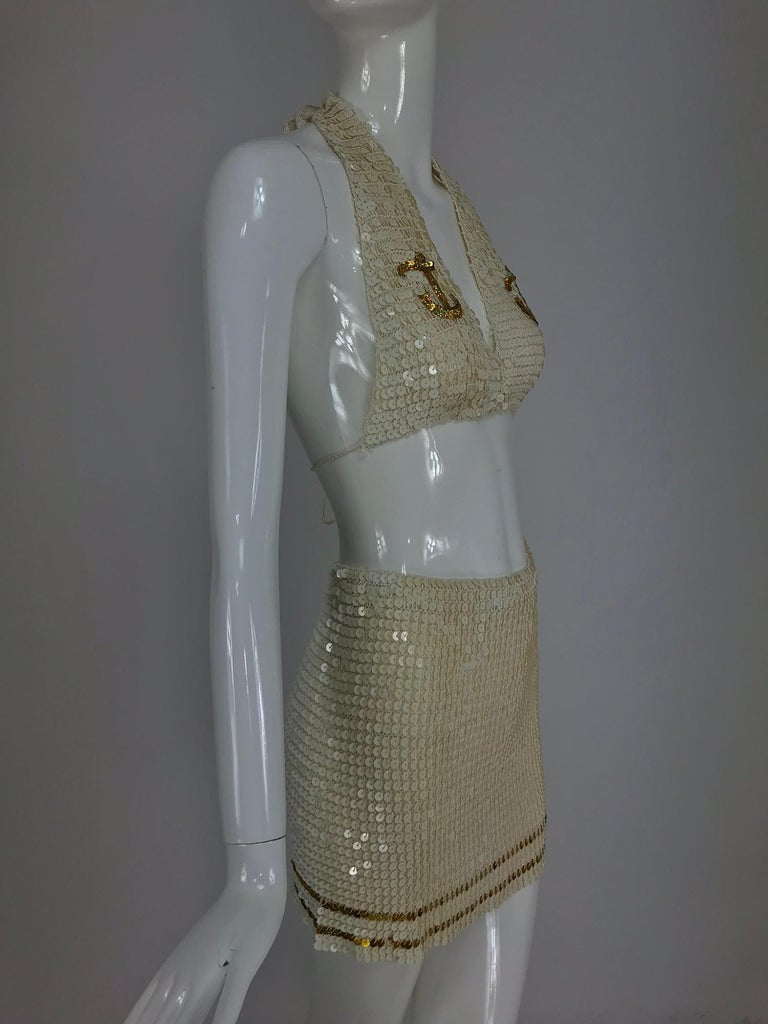 Martha cruise wear cream sequin bra and skirt, 1980s For Sale 6