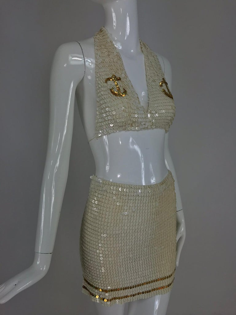 Martha cruise wear cream sequin bra and skirt, 1980s For Sale 7