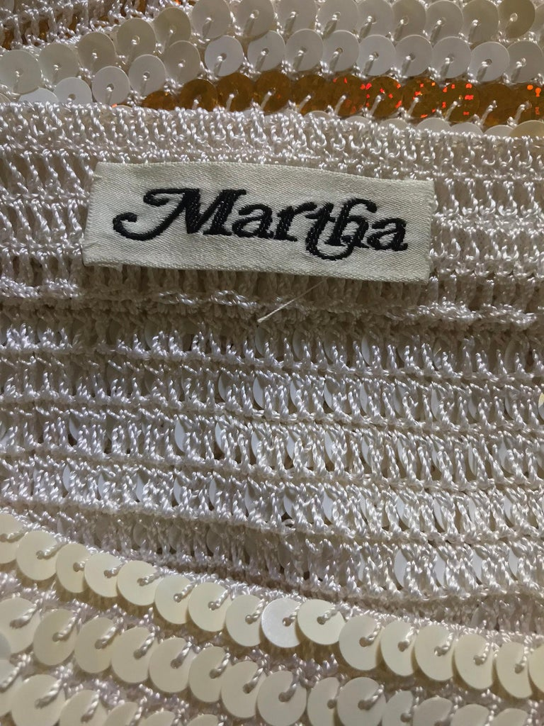 Martha cruise wear cream sequin bra and skirt, 1980s For Sale 8