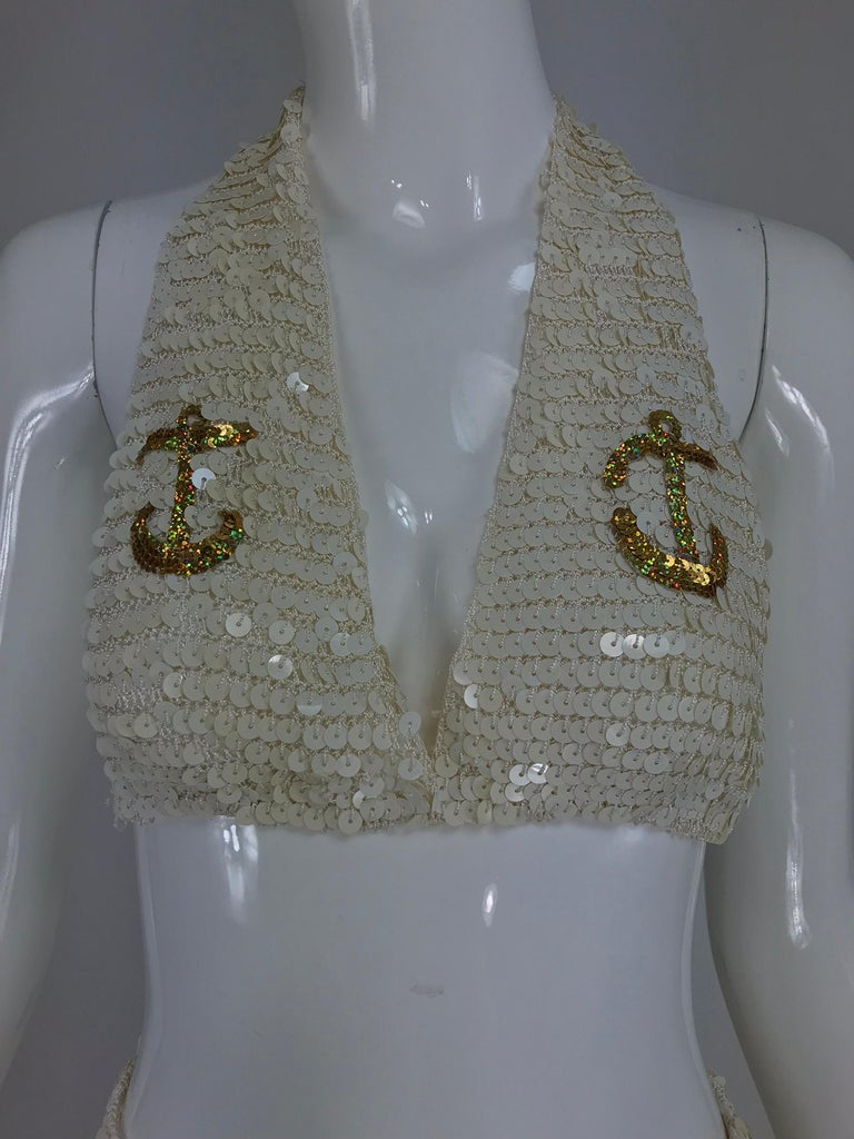 Martha cruise wear cream sequin bra and skirt, 1980s For Sale 9