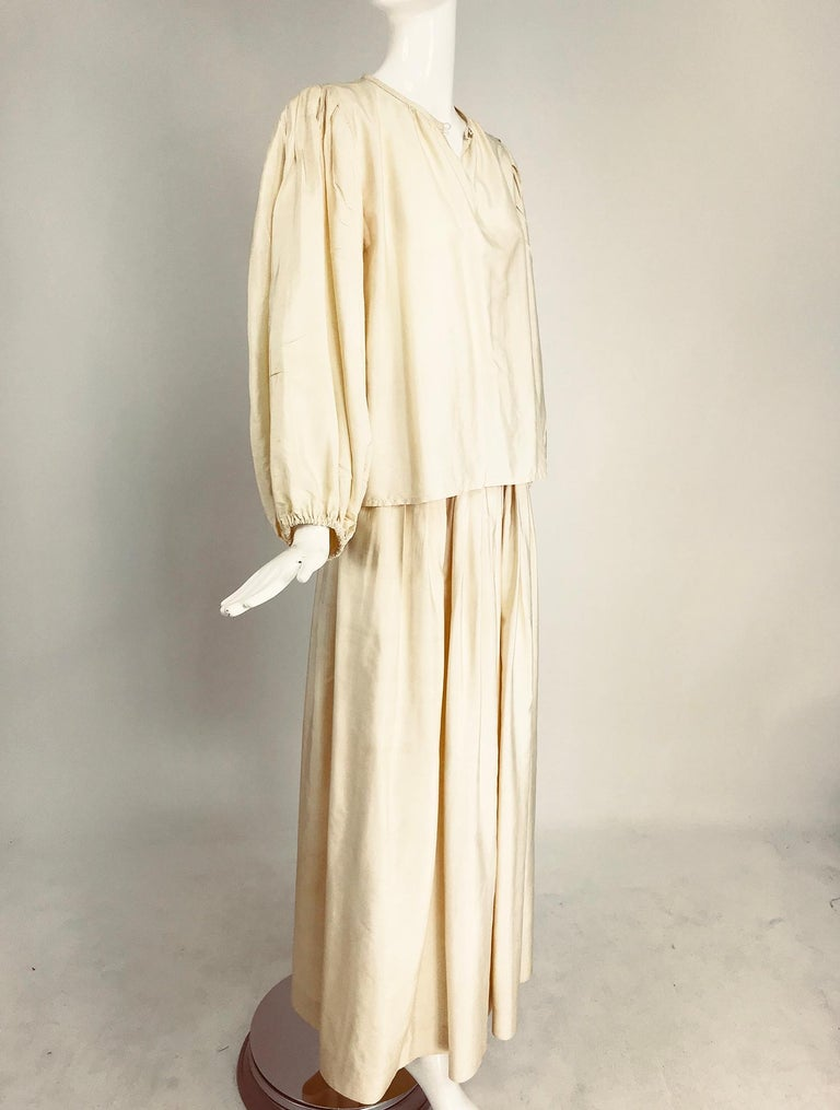 White Yves Saint Laurent natural raw silk top and maxi skirt 1970s For Sale
