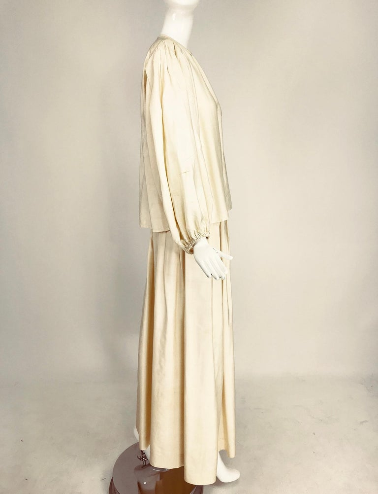 Yves Saint Laurent natural raw silk top and maxi skirt 1970s In Excellent Condition For Sale In West Palm Beach, FL