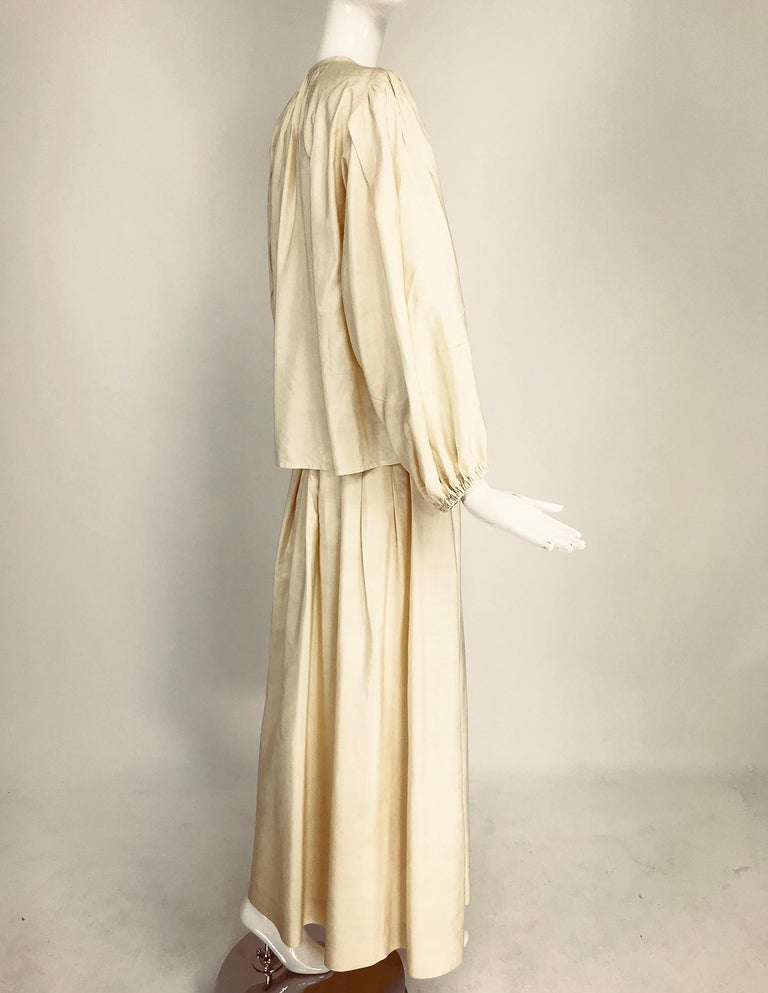 Women's Yves Saint Laurent natural raw silk top and maxi skirt 1970s For Sale