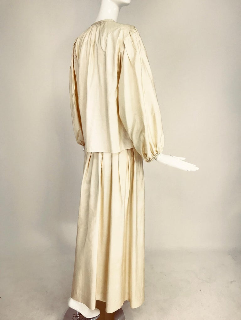 Yves Saint Laurent natural raw silk top and maxi skirt 1970s For Sale 1