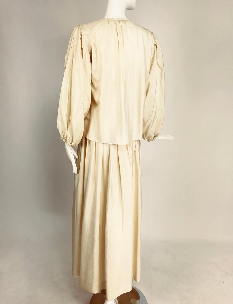 Yves Saint Laurent natural raw silk top and maxi skirt 1970s For Sale 3
