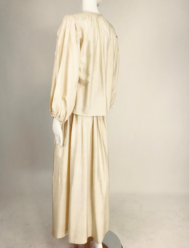 Yves Saint Laurent natural raw silk top and maxi skirt 1970s For Sale 4