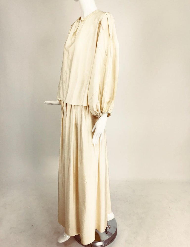 Yves Saint Laurent natural raw silk top and maxi skirt 1970s For Sale 5