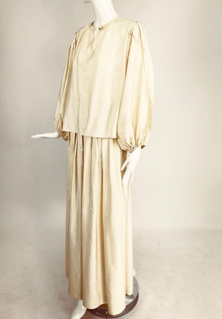 Yves Saint Laurent natural raw silk top and maxi skirt 1970s For Sale 6